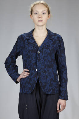 hip length jacket in bicolour cotton and polyurethane stretch jacquard  - 327