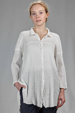 long and flared shirt in cotton crêpe plissé  - 327