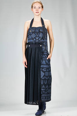 long dungaree dress in cotton denim with tone on tone greek geometric print and a polyester panel  - 121