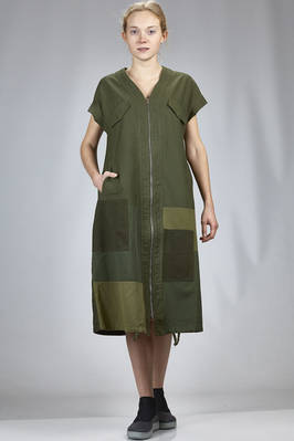 longuette dress in cotton canvas with tone on tone rectangular patchwork on the upper side  - 121