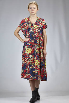 calf length dress in light rayon and cotton canvas with floral print  - 121
