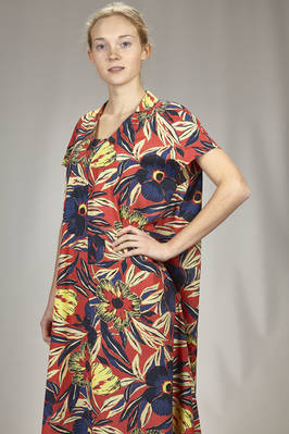 calf length dress in light rayon and cotton canvas with floral print - ZUCCA