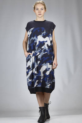calf length dress in camouflage rayon and cotton jersey and in cotton and cupro  - 121