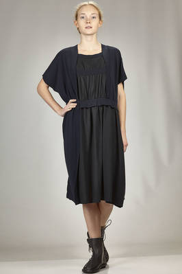 calf length dress in cotton jersey and rayon and parts in tone on tone lyocell and cotton  - 121