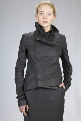hip length 'biker' jacket in linen, cotton and polyurethane with a leather effect  - 120