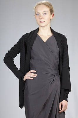 hip length cardigan in ribbed fabric knitting of cotton with detached ribs from the knitting on the body  - 120