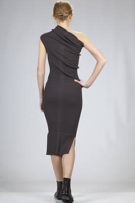 calf length slim fitted dress in ribbed knitting of viscose and polyester - RICK OWENS