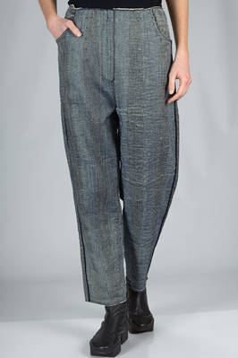 knitted trousers in a cotton, polyurethane, polyamide and viscose mesh with washed denim effect  - 227