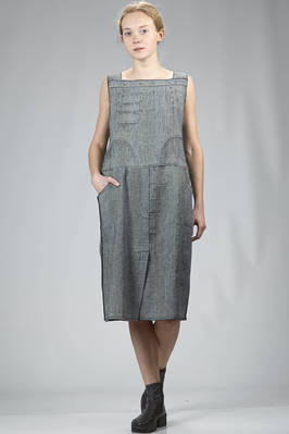 dungaree dress in knitted mesh of cotton, polyamide, polyurethane and viscose with washed denim effect  - 227