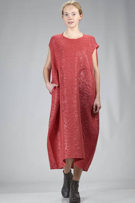 wide longuette dress in cotton, polyamide, viscose and textile paper lurex net  - 227