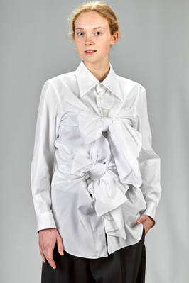 'sculpture' men's shirt in cotton poplin with big adjustable knots  - 48
