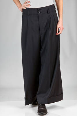 long and wide trousers in wool pinstripe, cupro lined  - 48