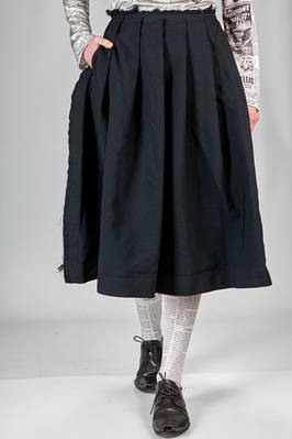 wide longuette skirt in washed techno polyester fabric with frayed borders  - 48