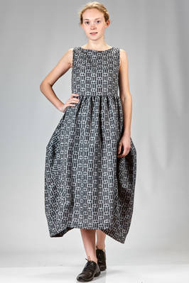 longuette dress in polyester twill with shaded squares print  - 157
