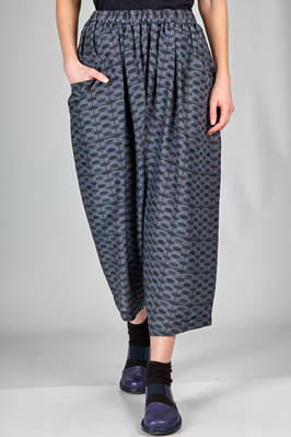 wide trousers in very light tencel and silk twill with shaded graphics print  - 157