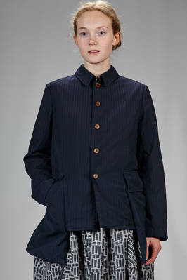 hip length jacket with very light washed polyester canvas with tone on tone stripes  - 157