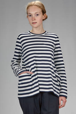 hip length t-shirt in cotton jersey with horizontal bicolour stripes  - 157
