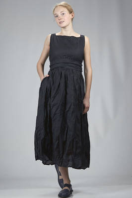 wide longuette dress in starched organza of crumpled cotton  - 195