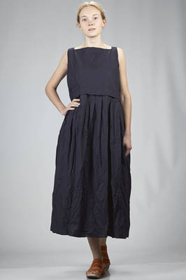 wide longuette dress in washed and wrinkled cotton canvas  - 195