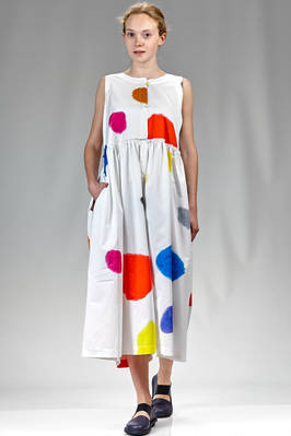 longuette dungaree in cotton poplin with big multicolour polka dot sprint with paint effect  - 195