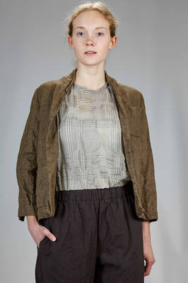 short and slim fitted jacket in wide weaved melange linen canvas washed and wrinkled  - 195