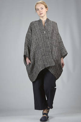 wide pea coat in bicolour linen and cotton net loom braided  - 195