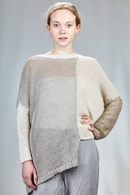 long and straight sweater with knitted blocks of different tonalities and types of processing of the silk, cotton and linen  - 360