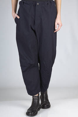 wide trousers in washed and crumpled cotton canvas  - 161