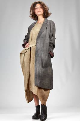 long overcoat in washed and wrinkled linen canvas with 3 levels erased check and small polka dots  - 161
