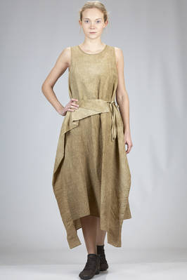 asymmetrical longuette dress in washed and embossed linen and viscose canvas with hand faded texture  - 161