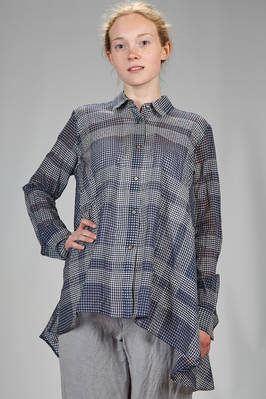 long, wide and asymmetrical shirt in cotton gauze and silk with shaded micro-check  - 161