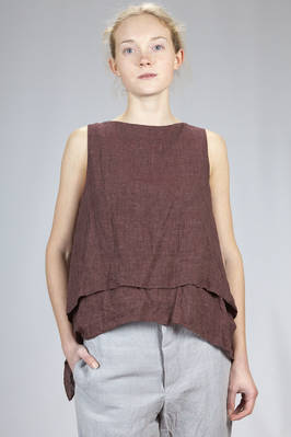 hip length wide top in a double washed and flamed linen and lyocell canvas  - 161