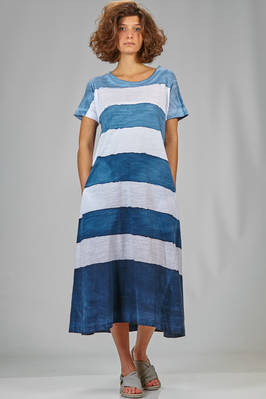 wide under the knee dress in organic cotton jersey with natural dyeing  - 363