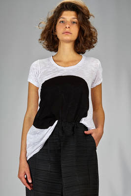 hip length t-shirt in organic cotton jersey with natural dyeing  - 363