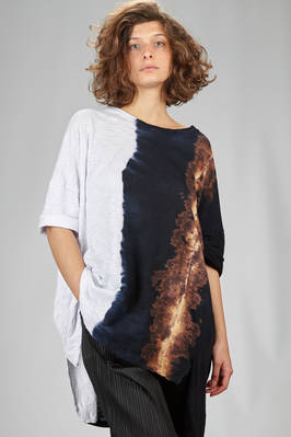 long and wide t-shirt in organic cotton jersey with natural dyeing  - 363