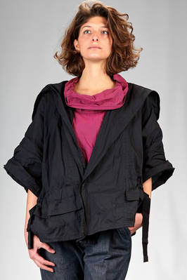 hip length pea coat in polyester paper that wrinkles when touched  - 47