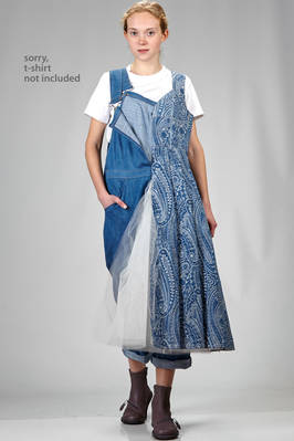 'sculpture' trousers dungaree with a base in soft denim cotton and a wide sewed dress on one side in cotton denim jacquard and inner tulle in polyester  - 74