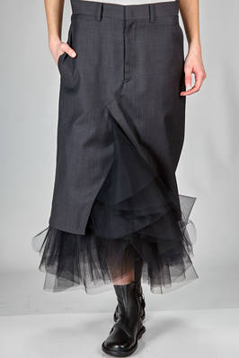 pencel longuette skirt in wool pinstripe with a base in contrasting colour nylon tulle, cupro lined  - 74