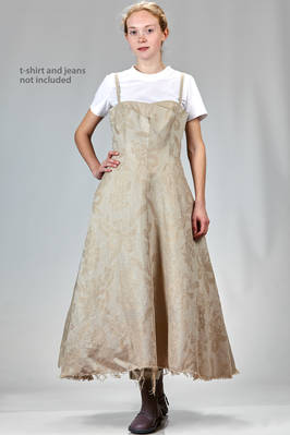 'sculpture' dress, under the knee in linen jacquard with inner multilayered skirt base in polyester tulle  - 74