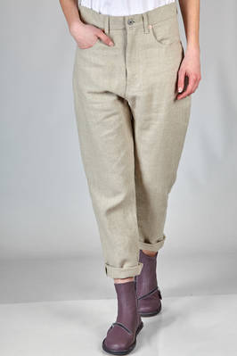 5 pocket trousers in linen canvas  - 74