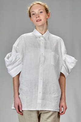wide and long shirt in linen gauze  - 74