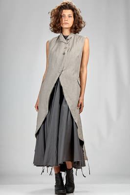 long and waisted waistcoat in washed linen canvas  - 163