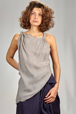 asymmetrical top in double silk voile, washed and wrinkled  - 163