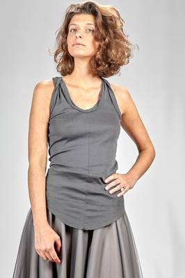 long and slim fitted top in cotton jersey with narrow ribs  - 163