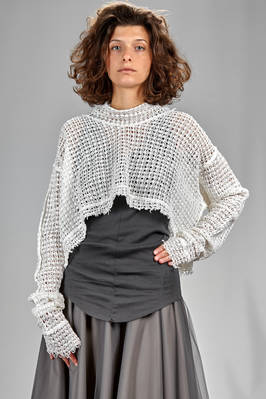short and wide sweater in Viennese straw cotton and linen knitting  - 163