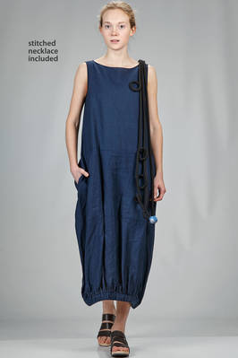 long and wide dress in washed linen canvas with applied necklace  - 364