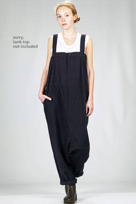 wide trousers dungaree in washed cotton and linen canvas  - 340