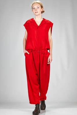 trousers dungaree in slightly wrinkled crêpe of polyester and triacetate  - 340