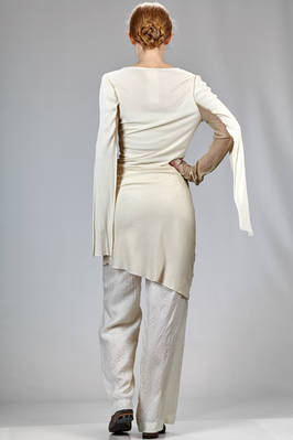 long and slim fitted sweater in ribbed silk and cotton jersey with parts in silk voile - PHAÉDO