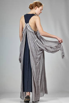 long and wide 'sculpture' dress with a contrasting color cotton base and natural dyed silk organza - PHAÉDO